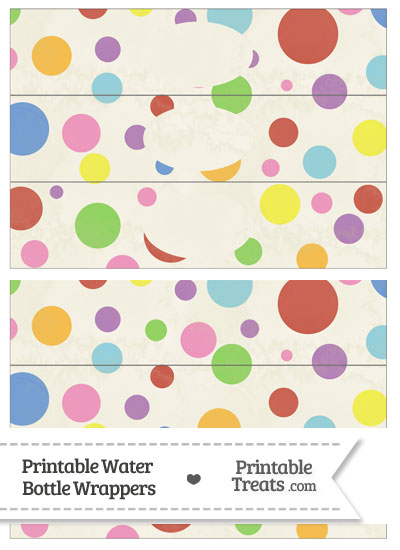 Vintage Rainbow Dots Water Bottle Wrappers from PrintableTreats.com