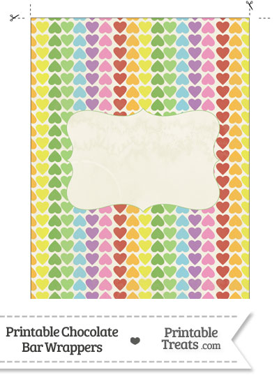 Vintage Rainbow Hearts Chocolate Bar Wrappers from PrintableTreats.com