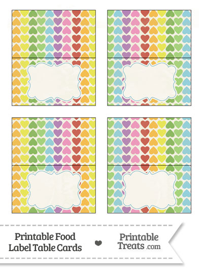 Vintage Rainbow Hearts Food Labels from PrintableTreats.com