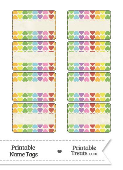 Vintage Rainbow Hearts Name Tags from PrintableTreats.com