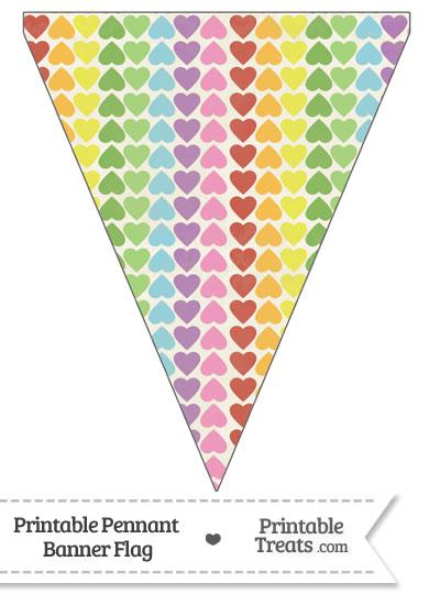 Vintage Rainbow Hearts Pennant Banner Flag from PrintableTreats.com