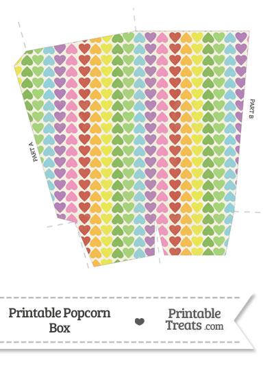 Vintage Rainbow Hearts Popcorn Box from PrintableTreats.com