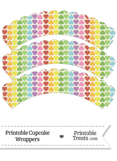 Vintage Rainbow Hearts Scalloped Cupcake Wrappers from PrintableTreats.com