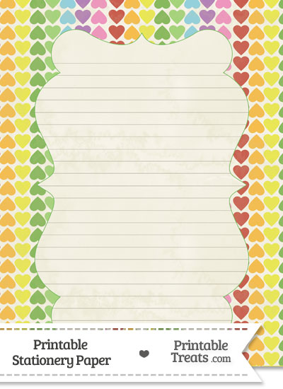 Vintage Rainbow Hearts Stationery Paper from PrintableTreats.com