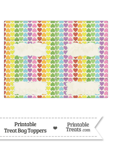 Vintage Rainbow Hearts Treat Bag Toppers from PrintableTreats.com