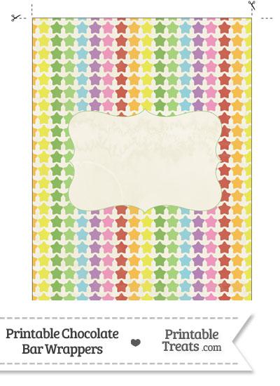 Vintage Rainbow Stars Chocolate Bar Wrappers from PrintableTreats.com