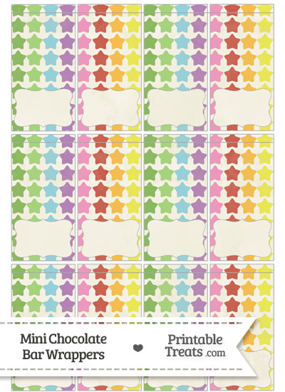 Vintage Rainbow Stars Mini Chocolate Bar Wrappers from PrintableTreats.com