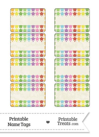 Vintage Rainbow Stars Name Tags from PrintableTreats.com