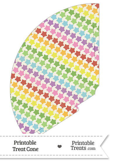 Vintage Rainbow Stars Treat Cone from PrintableTreats.com