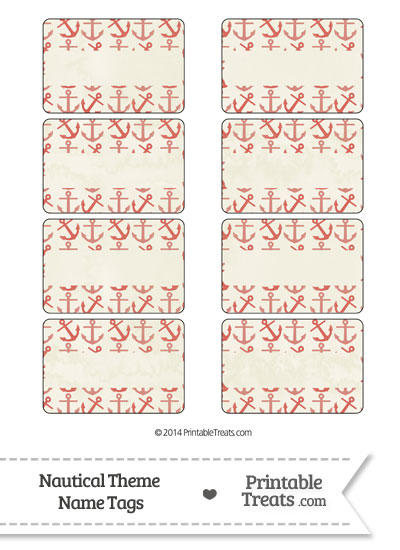 Vintage Red Anchors Name Tags from PrintableTreats.com