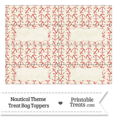 Vintage Red Anchors Treat Bag Toppers from PrintableTreats.com