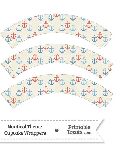 Vintage Red and Blue Anchors Cupcake Wrappers from PrintableTreats.com