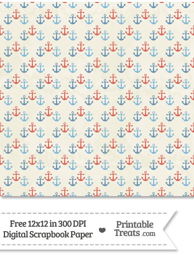 Vintage Red and Blue Anchors Digital Scrapbook Paper from PrintableTreats.com