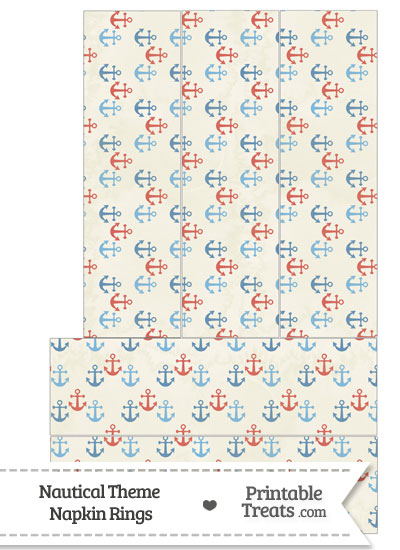 Vintage Red and Blue Anchors Napkin Rings from PrintableTreats.com