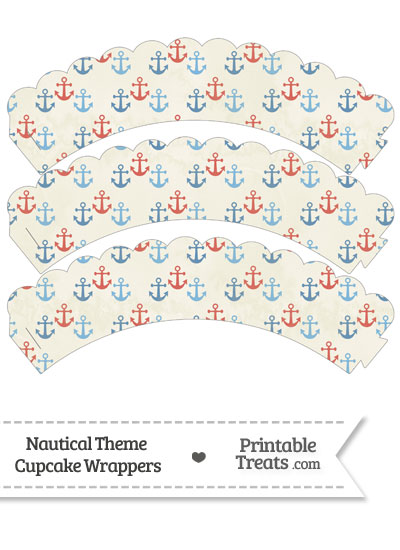 Vintage Red and Blue Anchors Scalloped Cupcake Wrappers from PrintableTreats.com