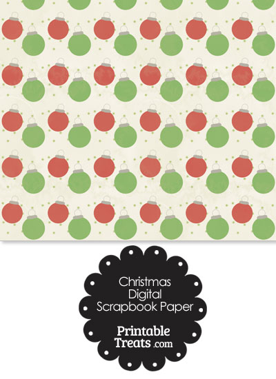 Vintage Red and Green Christmas Ornaments Digital Scrapbook Paper from PrintableTreats.com