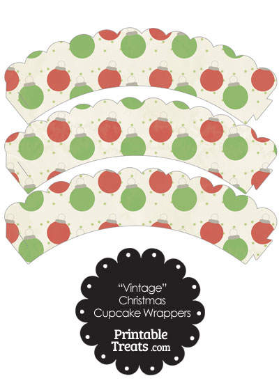 Vintage Red and Green Christmas Ornaments Scalloped Cupcake Wrappers from PrintableTreats.com