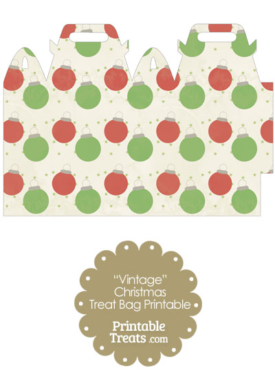 Vintage Red and Green Christmas Ornaments Treat Bag from PrintableTreats.com
