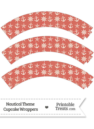 Vintage Red Nautical Cupcake Wrappers from PrintableTreats.com