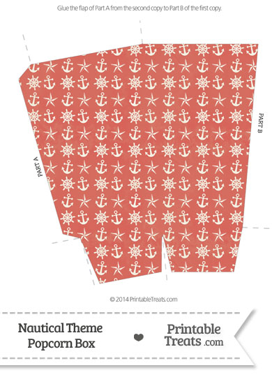 Vintage Red Nautical Popcorn Box from PrintableTreats.com