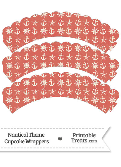 Vintage Red Nautical Scalloped Cupcake Wrappers from PrintableTreats.com
