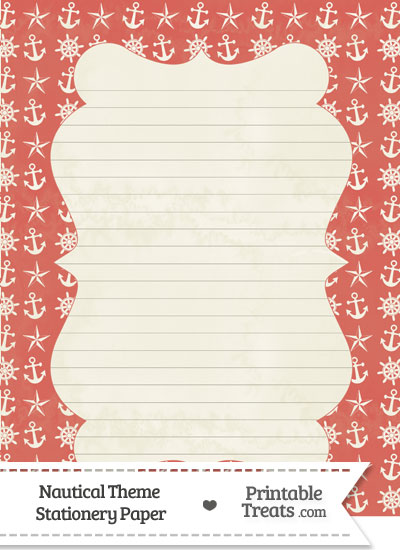 Vintage Red Nautical Stationery Paper from PrintableTreats.com