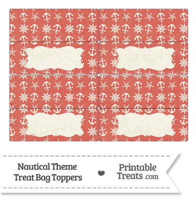 Vintage Red Nautical Treat Bag Toppers from PrintableTreats.com