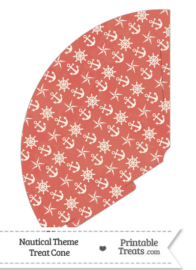 Vintage Red Nautical Treat Cone from PrintableTreats.com