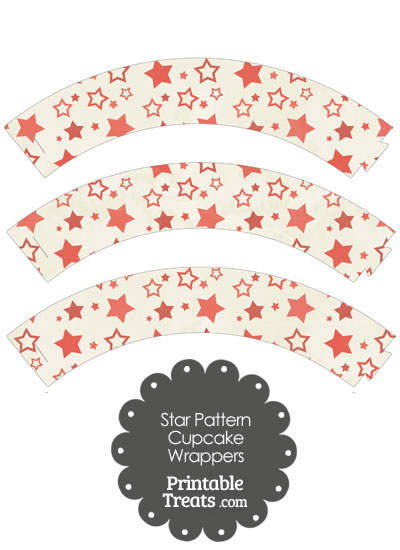 Vintage Red Star Pattern Cupcake Wrappers from PrintableTreats.com