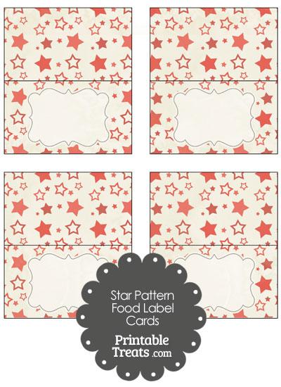 Vintage Red Star Pattern Food Labels from PrintableTreats.com