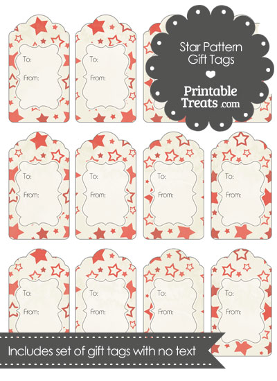 Vintage Red Star Pattern Gift Tags from PrintableTreats.com