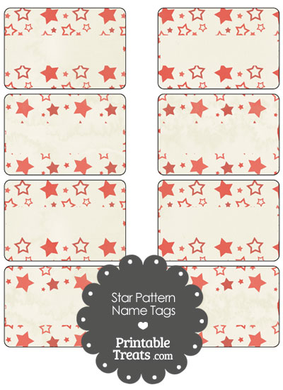 Vintage Red Star Pattern Name Tags from PrintableTreats.com
