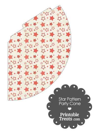 Vintage Red Star Pattern Party Cone from PrintableTreats.com