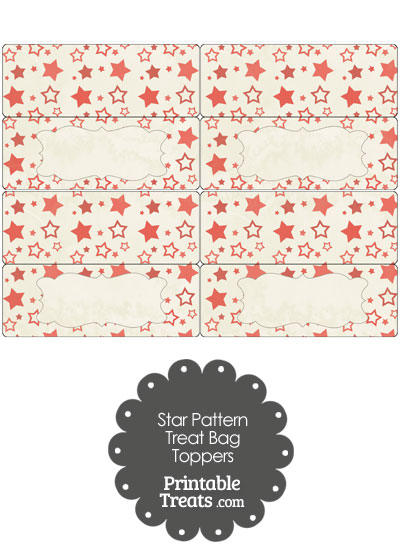 Vintage Red Star Pattern Treat Bag Toppers from PrintableTreats.com