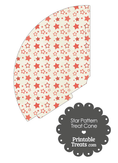 Vintage Red Star Pattern Treat Cone from PrintableTreats.com