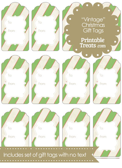Vintage Red White and Green Diagonal Striped Gift Tags from PrintableTreats.com