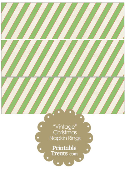 Vintage Red White and Green Diagonal Striped Napkin Rings from PrintableTreats.com