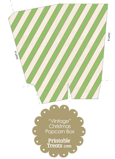 Vintage Red White and Green Diagonal Striped Popcorn Box from PrintableTreats.com
