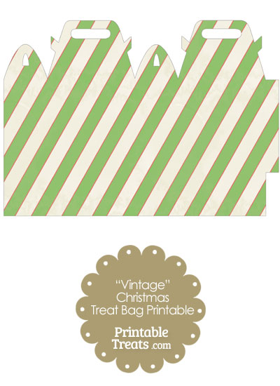 Vintage Red White and Green Diagonal Striped Treat Bag from PrintableTreats.com