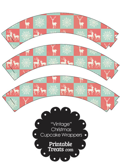 Vintage Reindeer and Snowflakes Cupcake Wrappers from PrintableTreats.com