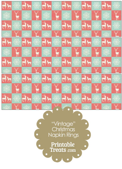Vintage Reindeer and Snowflakes Napkin Rings from PrintableTreats.com