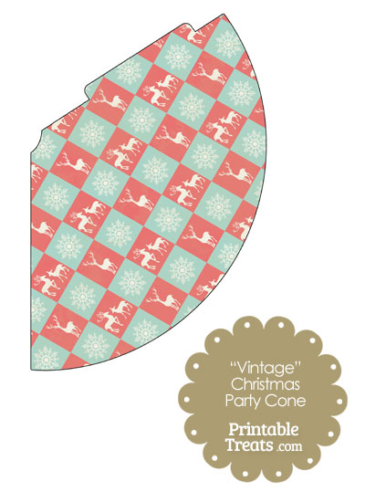 Vintage Reindeer and Snowflakes Party Cone from PrintableTreats.com