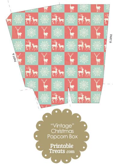 Vintage Reindeer and Snowflakes Popcorn Box from PrintableTreats.com