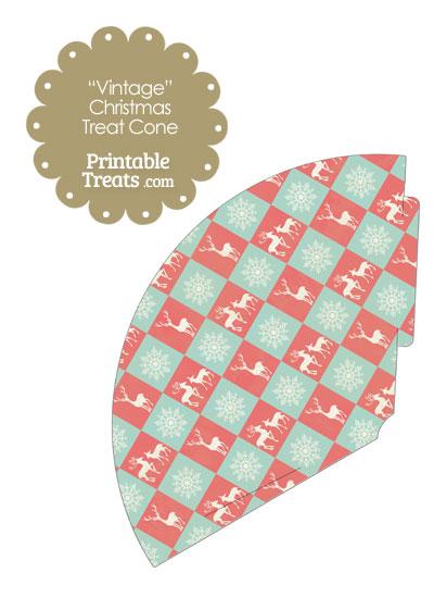 Vintage Reindeer and Snowflakes Printable Treat Cone from PrintableTreats.com