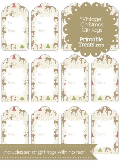 Vintage Reindeer Gift Tags from PrintableTreats.com