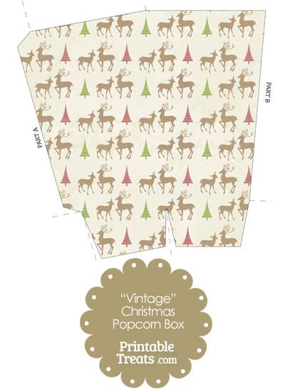 Vintage Reindeer Popcorn Box from PrintableTreats.com