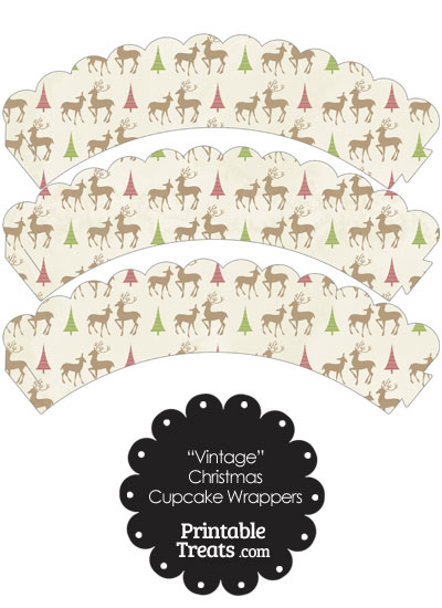 Vintage Reindeer Scalloped Cupcake Wrappers from PrintableTreats.com