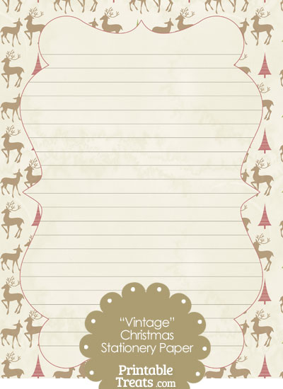 Vintage Reindeer Stationery Paper from PrintableTreats.com