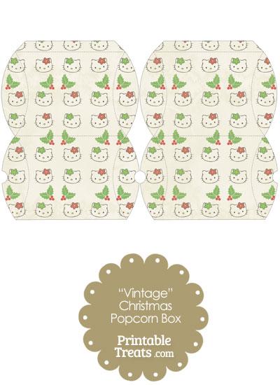 Vintage Small Hello Kitty Christmas Holly Pillow Box from PrintableTreats.com