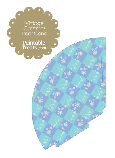 Vintage Snowflake Checkered Printable Treat Cone from PrintableTreats.com